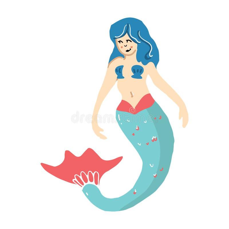 Cute magical blue mermaid cartoon vector illustration motif set. Hand drawn isolated marine mythology elements clipart for stock illustration