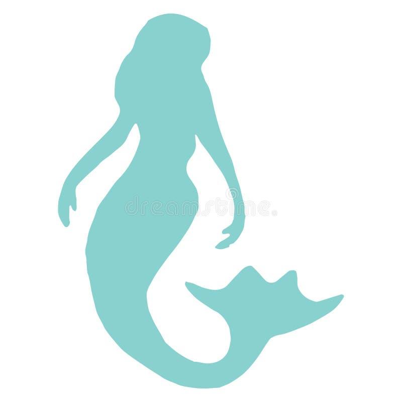 Cute magical mermaid silhouette cartoon vector illustration motif set. Hand drawn isolated marine mythology elements clipart for stock illustration