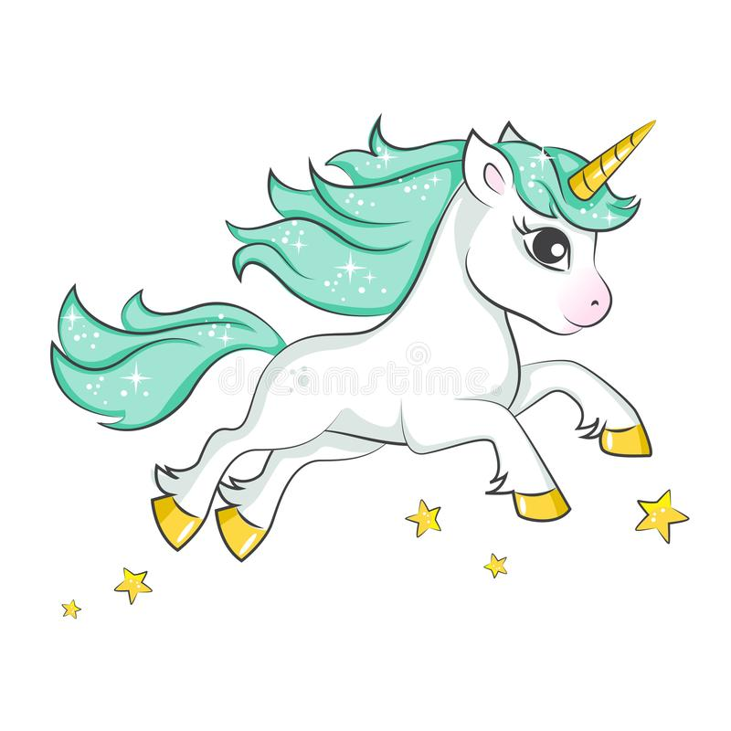 Cute magical unicorn. Vector design isolated on white background. Print for t-shirt or sticker. Romantic hand drawing illustration for children vector illustration