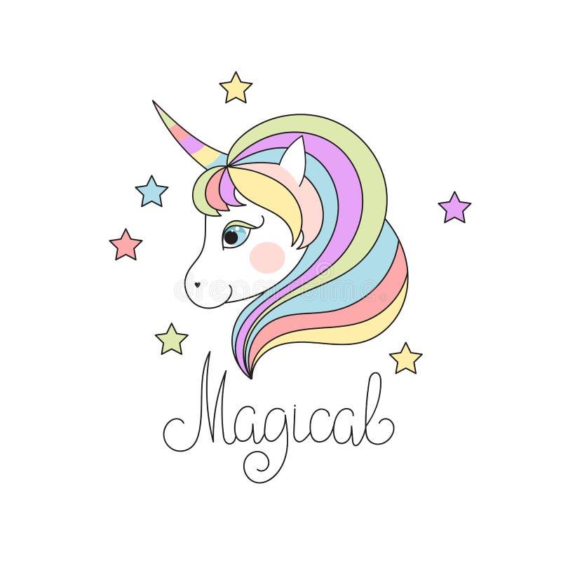 Cute Magical Unicorn Head vector illustration