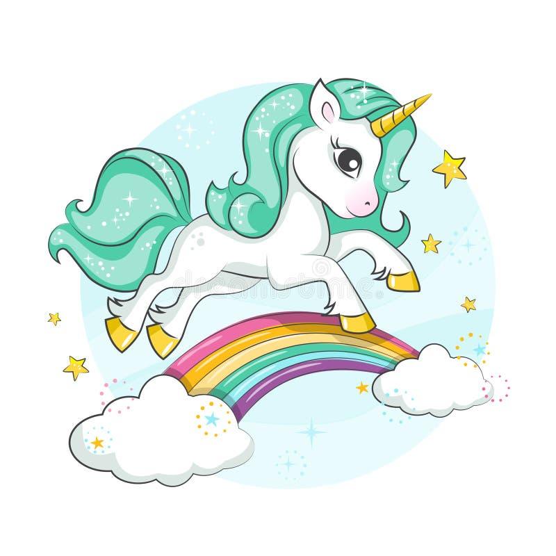 Cute magical unicorn. Little pony. vector illustration