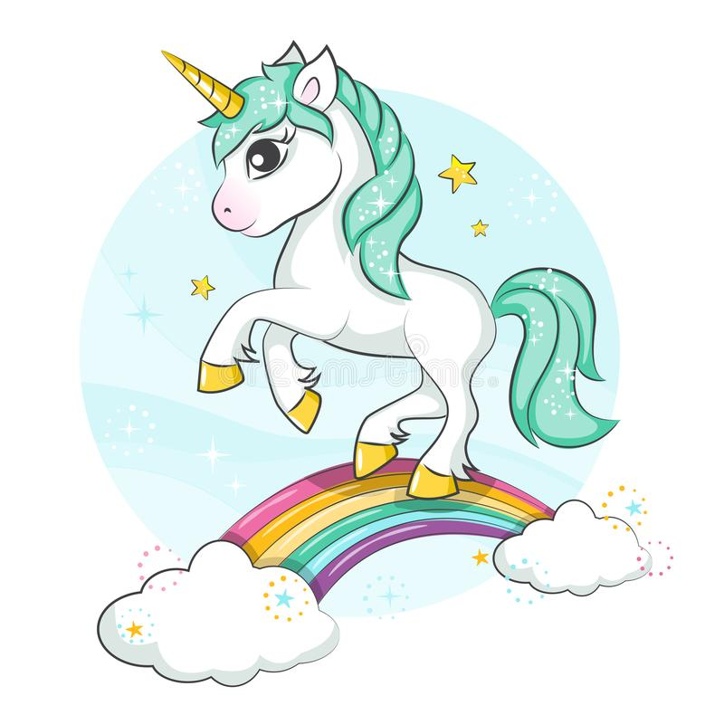Cute magical unicorn. Little pony. Cute magical unicorn and rainbow. Vector design isolated on white background. Print for t-shirt or sticker. Romantic hand