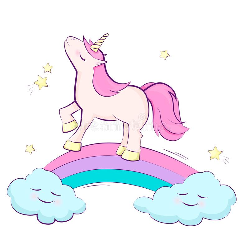 Cute magical unicorn on a rainbow, star, cloud. Vector design isolated. Illustration for children. Pink blue purple vector illustration