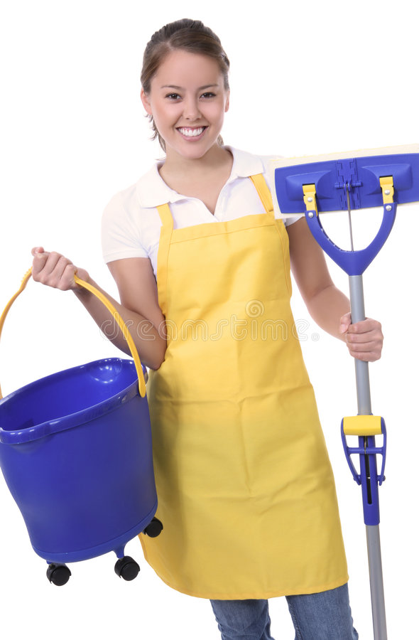 Free Cute Maid With Mop Royalty Free Stock Image - 7198716