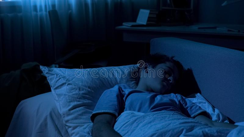 Cute male teenager deeply sleeping in his sofa after hard day at university stock photography
