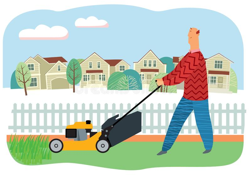 Cute man mows grass with a lawn mower on the background of houses. Vector full color graphics royalty free illustration