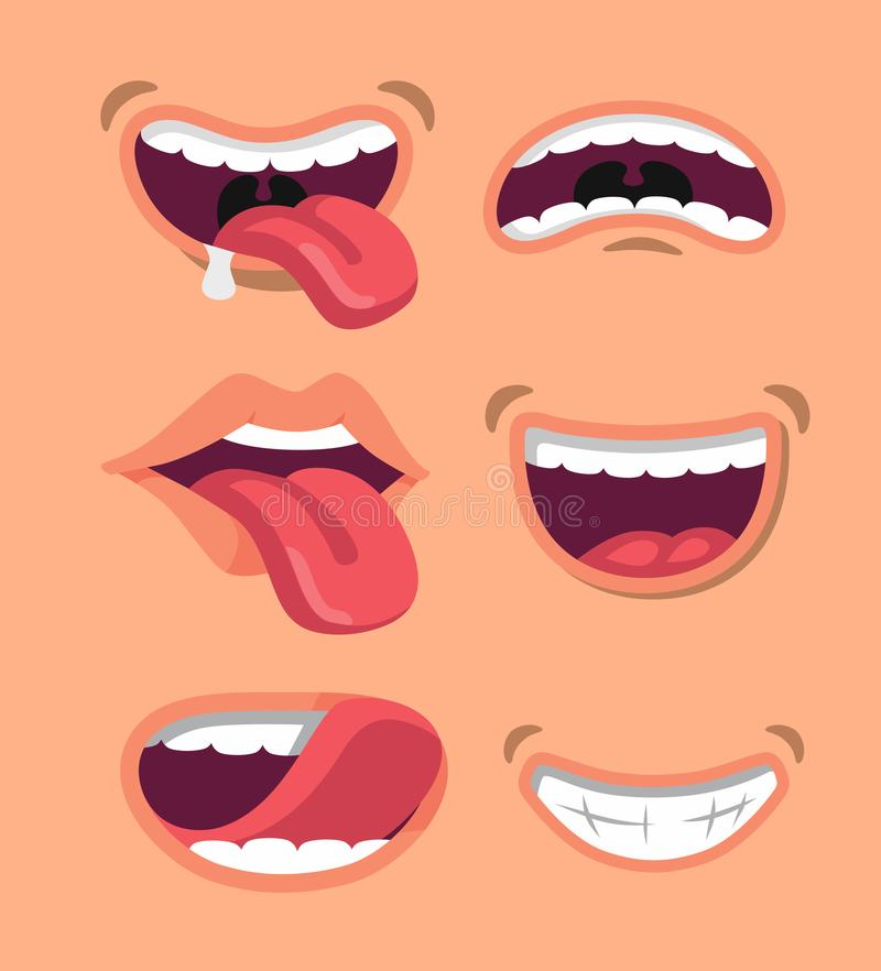 Cute man and woman mouth set. royalty free illustration
