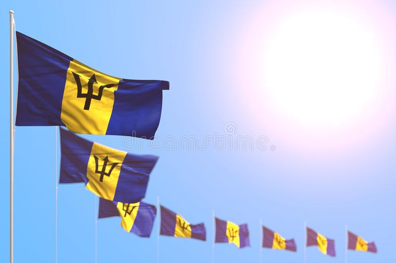 Cute many Barbados flags placed diagonal with selective focus and empty place for your text - any holiday flag 3d illustration. Nice any holiday flag 3d royalty free illustration
