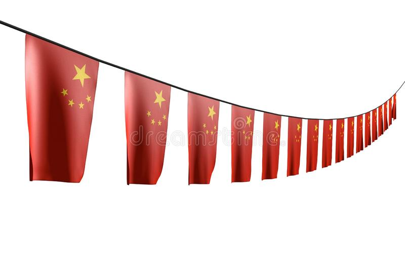 Wonderful independence day flag 3d illustration - many China flags or banners hanging diagonal with perspective view on rope. Cute many China flags or banners royalty free illustration