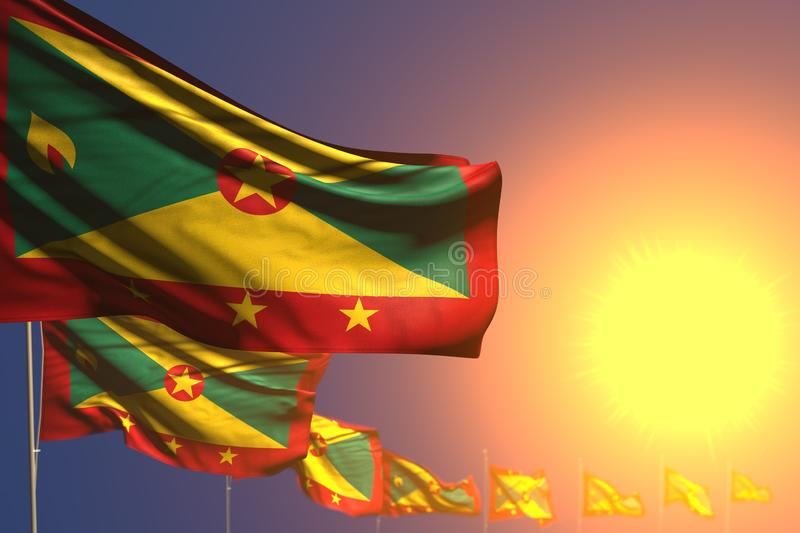Cute many Grenada flags on sunset placed diagonal with selective focus and space for content - any celebration flag 3d. Beautiful celebration flag 3d stock illustration