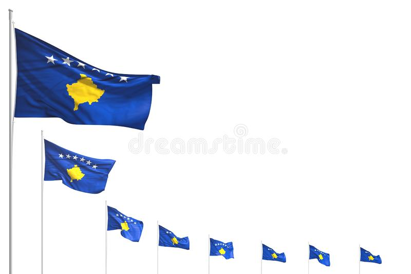 Cute many Kosovo flags placed diagonal isolated on white with space for text - any celebration flag 3d illustration vector illustration