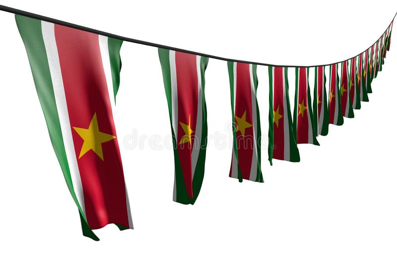 Cute many Suriname flags or banners hangs diagonal with perspective view on rope isolated on white - any celebration flag 3d. Pretty anthem day flag 3d royalty free illustration