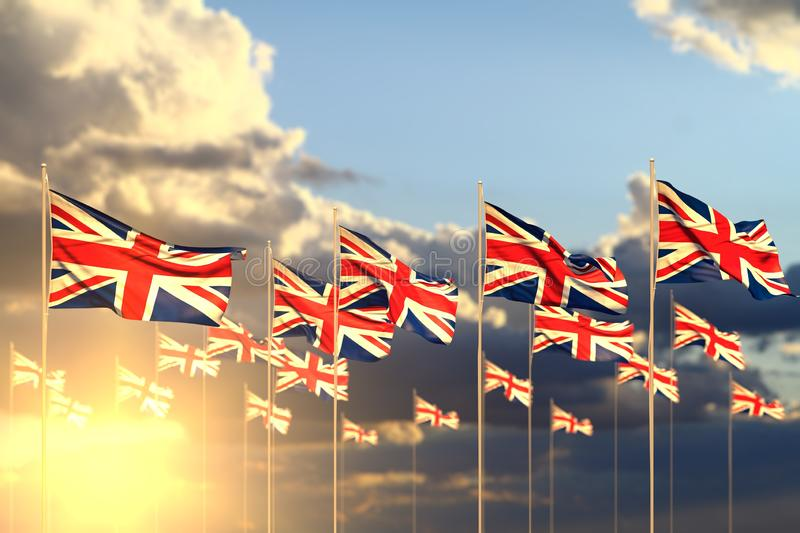 Pretty any holiday flag 3d illustration - many United Kingdom UK flags on sunset placed in row with soft focus and place for. Cute many United Kingdom UK flags stock image