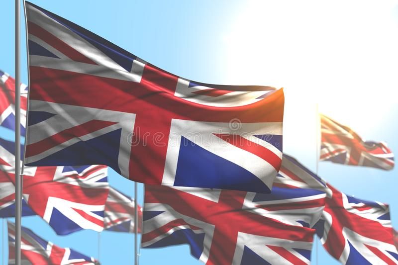 Cute many United Kingdom UK flags are wave against blue sky photo with soft focus - any celebration flag 3d illustration. Pretty holiday flag 3d illustration vector illustration