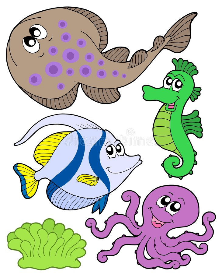 Cute Marine Animals Collection 3 Royalty Free Stock Photography
