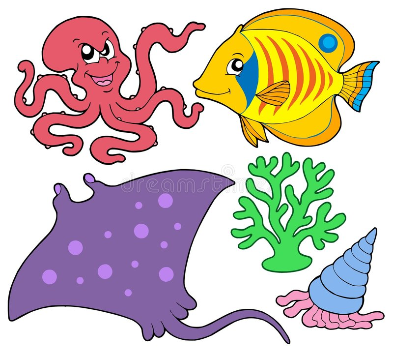 Cute marine animals collection 4 royalty free stock images