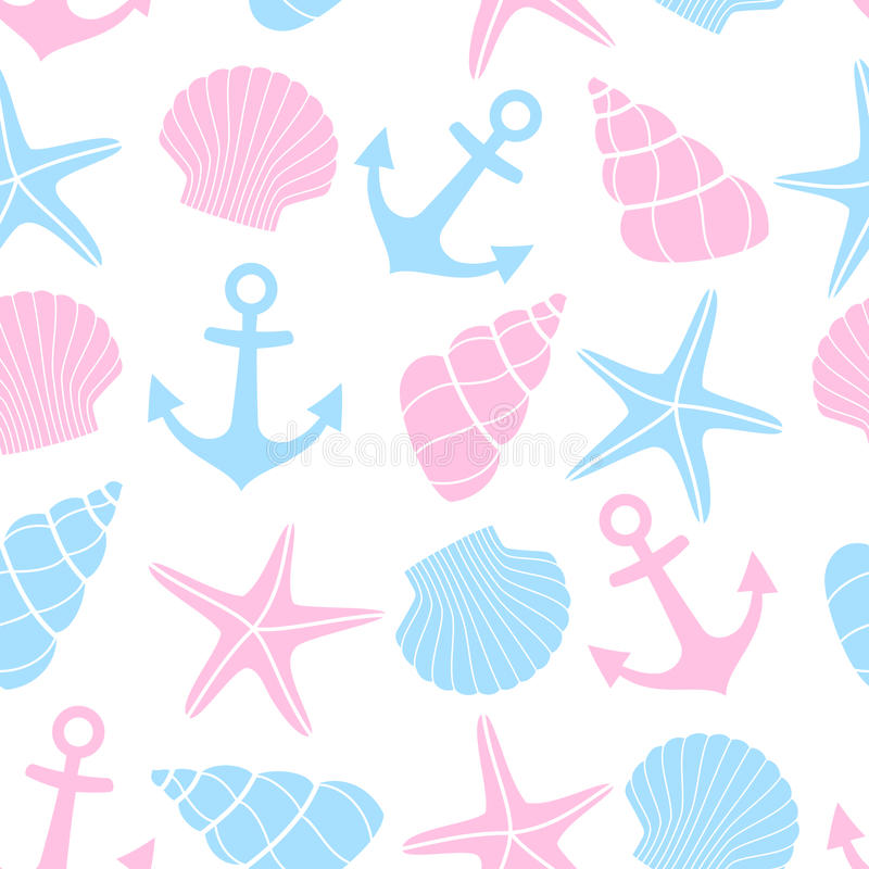 Cute marine life Background. Nautical seamless pattern with starfish, shell, anchor on white background. stock illustration