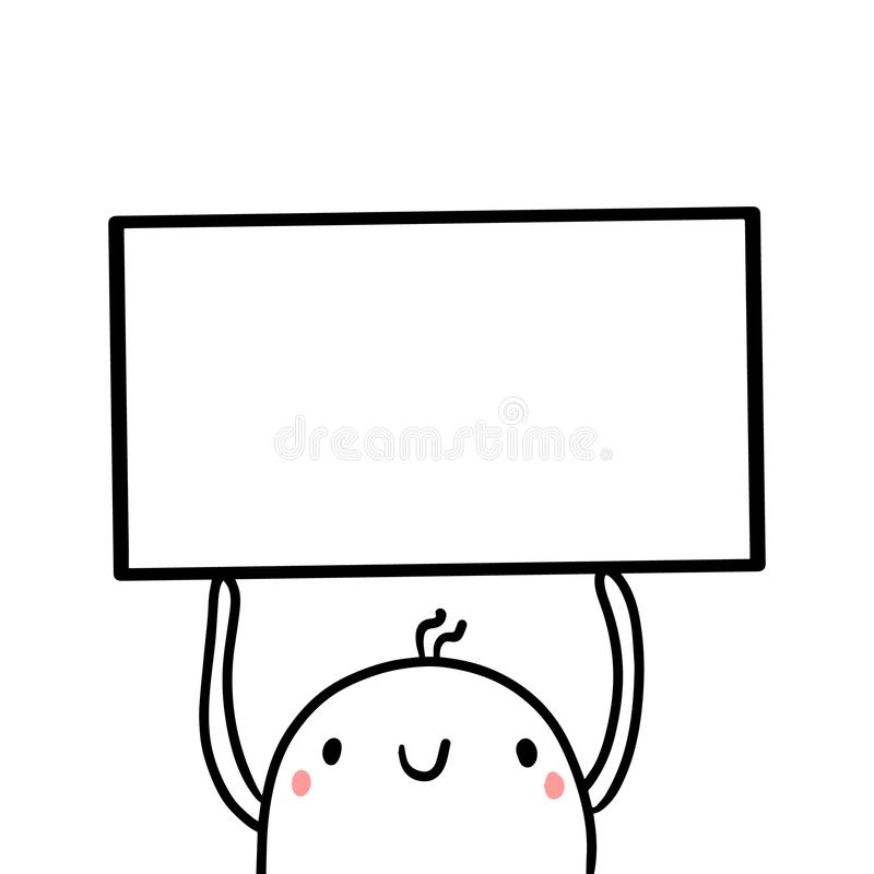Cute marshmallow holding frame hand drawn illustration vector illustration