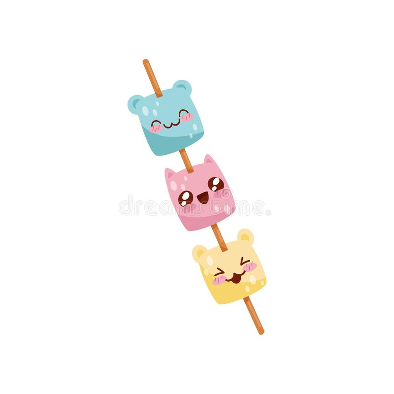 Cute marshmallow on wooden stick Kawaii food cartoon character vector Illustration on a white background royalty free illustration
