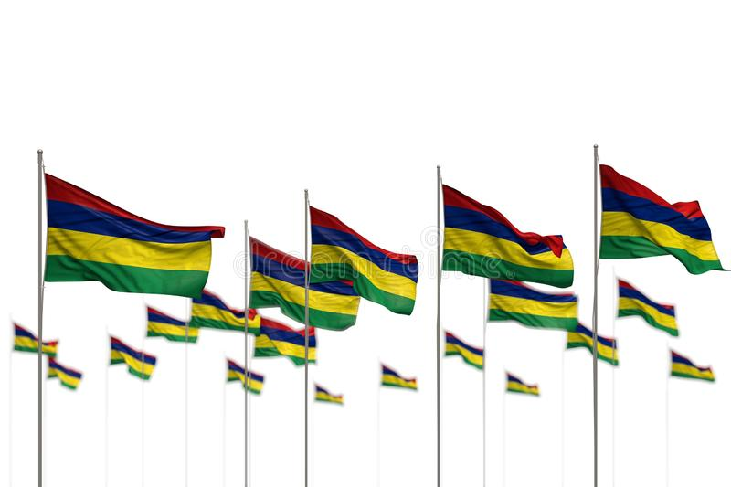 Cute Mauritius isolated flags placed in row with selective focus and place for content - any celebration flag 3d illustration. Pretty any occasion flag 3d royalty free illustration