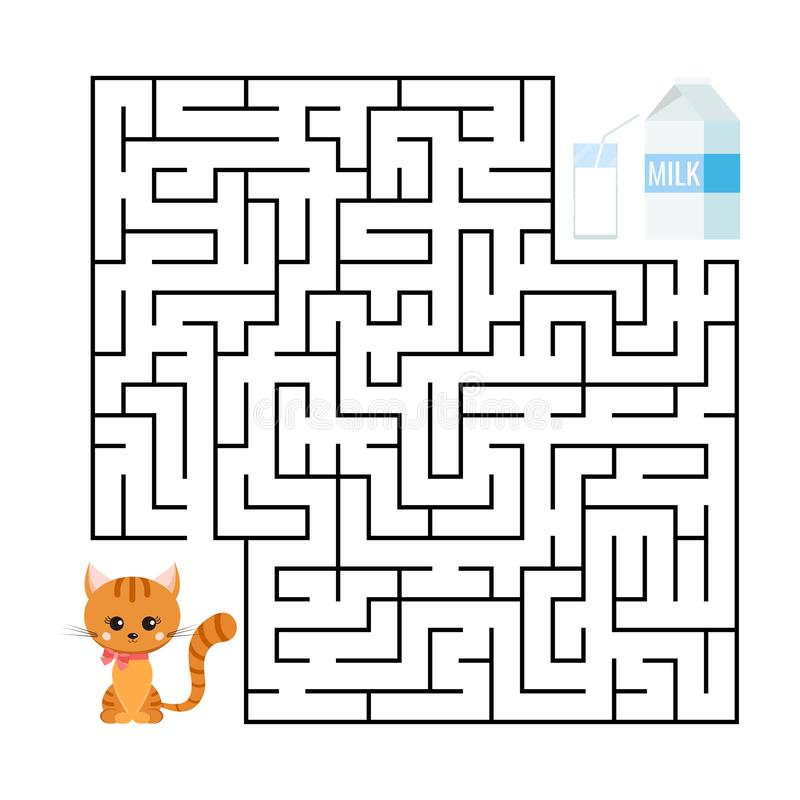 Cute maze game for kids education. Cartoon gienger stripped cat and milk package with glass. royalty free illustration