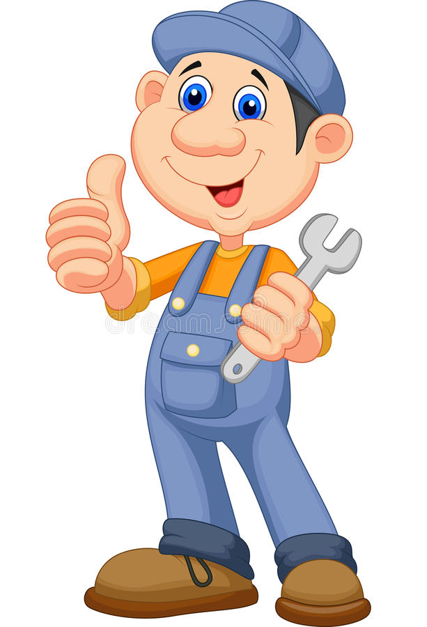 Cute mechanic cartoon holding wrench and giving thumbs up vector illustration
