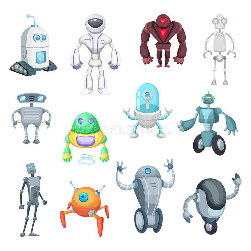 Cute mechanic monsters. Toys for kids. Characters of robots. Vector pictures in cartoon style stock illustration