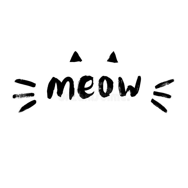 Cute meow cat quotes illustartion vector. stock illustration