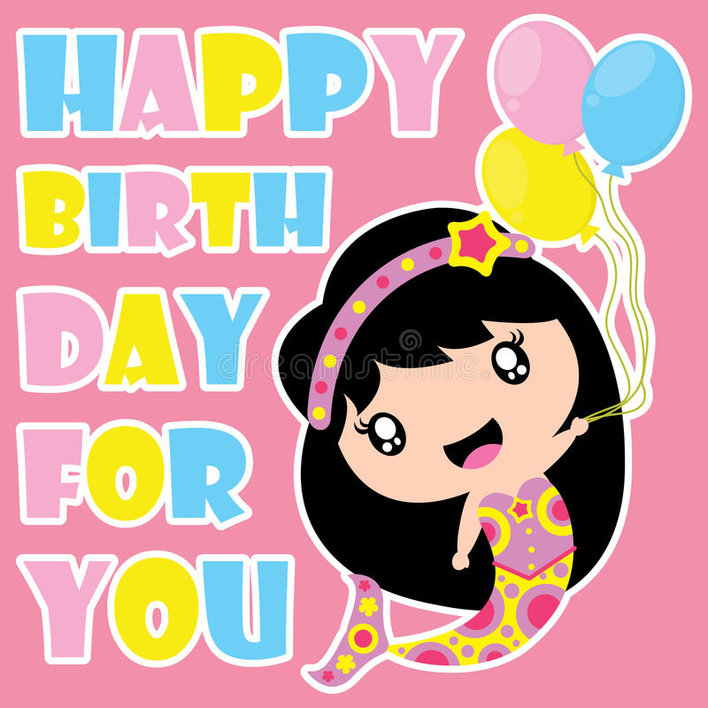 Cute mermaid is happy with birthday balloons vector cartoon, Birthday postcard, wallpaper, and greeting card stock illustration