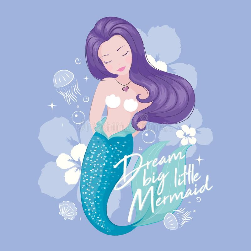 Cute Mermaid with jellyfish and flowers. Beautiful mermaid on lilac background, for t shirts or kids fashion artworks, children stock illustration
