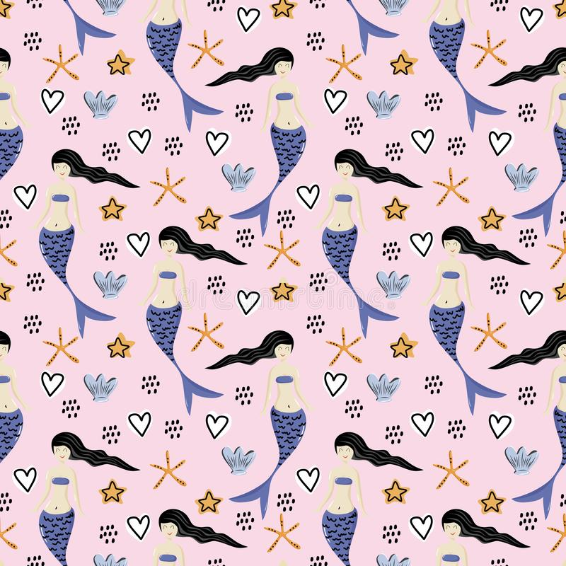 Cute mermaid seamless pattern with fantasy drawing colorful background for kids and children. Good for baby fashion textile print. Fin underwater summer girl stock illustration