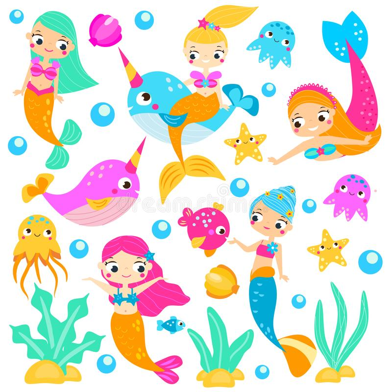 Cute mermaids. Cartoon mermaid, narwhals, fishes and other underwater characters. Stickers, clip art, isolated elements vector illustration