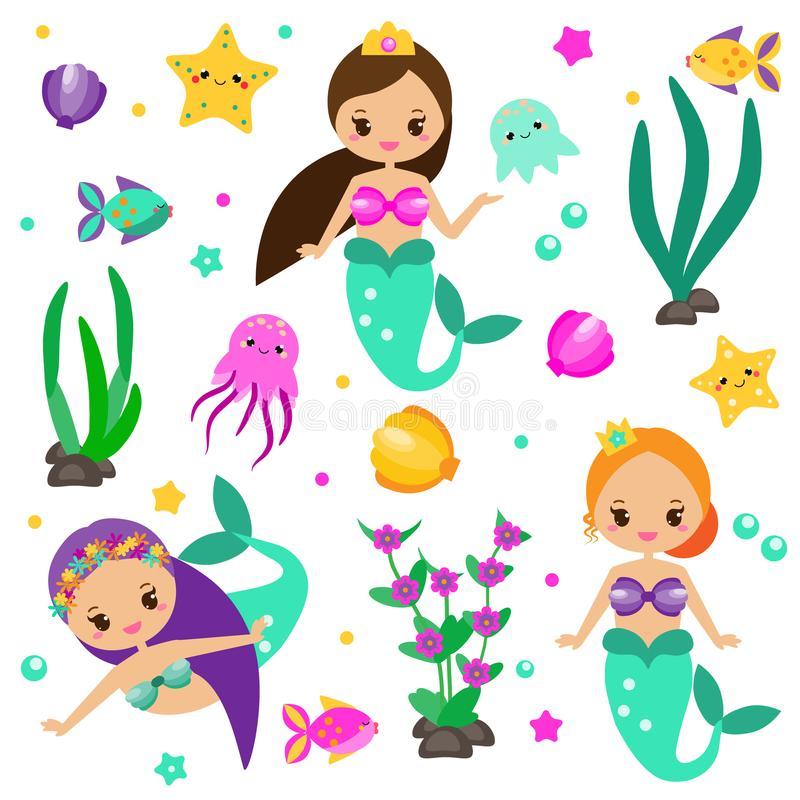 Cute mermaids set and design elements. Stickers, clip art for girls in kawaii style. Alga, octopus, fish and other fairy symbols vector illustration