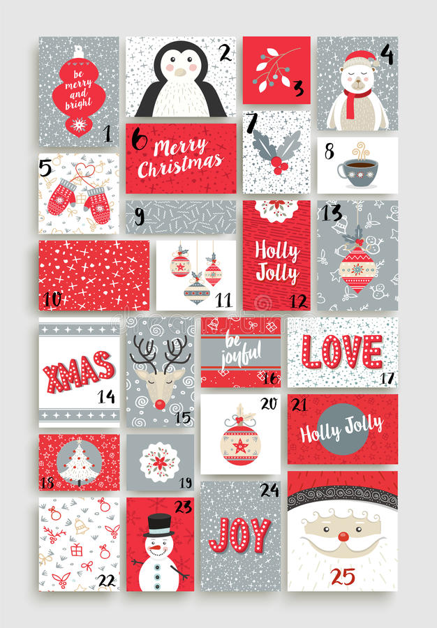 Cute Merry Christmas advent calendar for holiday. Merry Christmas advent calendar design made of cute retro style cards with happy holiday illustrations. EPS10 vector illustration