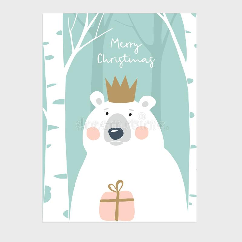 Cute Merry Christmas greeting card, invitation. Polar bear with crown holding gift box. Birch wood. Hand drawn kids stock illustration