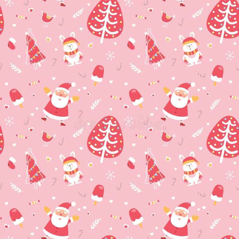 Cute Merry Christmas and Happy New Year seamless pattern. Excellent illustrative design elements.  vector illustration