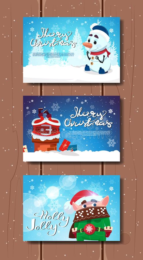 Cute Merry Christmas Posters Set With Santa, Elf And Snowman Over Wooden Texture New Year Greeting Cards stock illustration