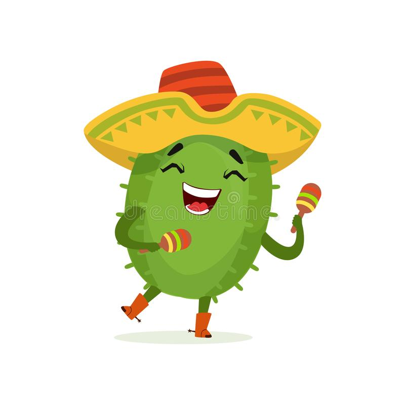 Cute Mexican cactus, funny plant character in sombrero hat shaking maracas cartoon vector Illustration. On a white background royalty free illustration