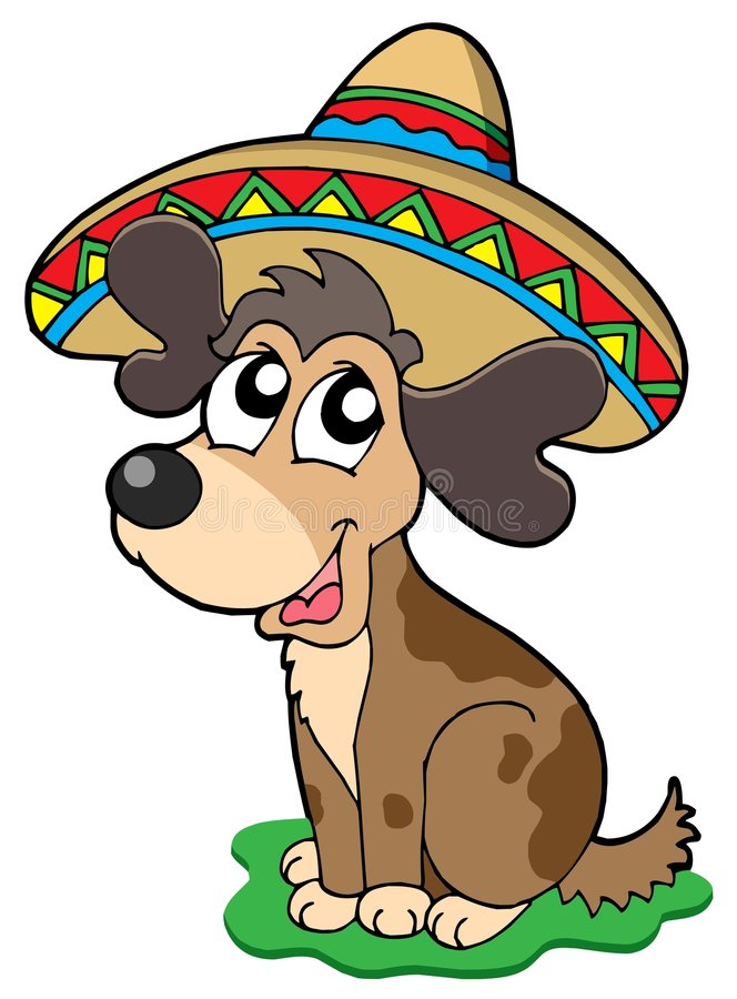 Cute Mexican dog stock illustration