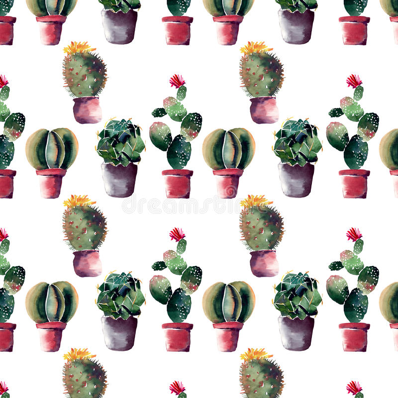 Cute mexican hawaii tropical green floral summer spring pattern of a colorful cactus in pots with flowers vertical pattern royalty free illustration