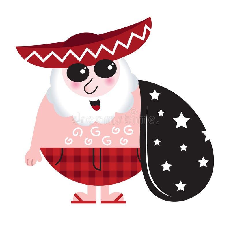 Cute mexican Santa with big Bag. Retro summer tropical Santa with mexican Hat - vector vector illustration