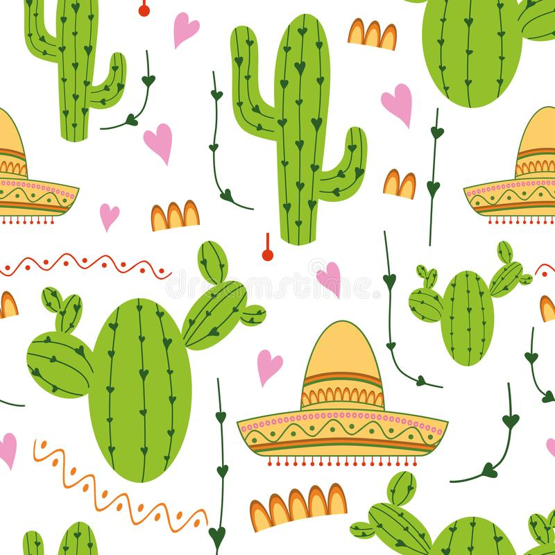Cute mexican seamless pattern with cactus, sombrero in green, yellow, pink and white colors. Natural vector background royalty free illustration