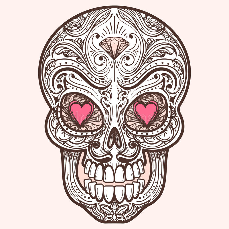 Download Cute Mexican Sugar Skull Stock Vector Illustration Of Floral
