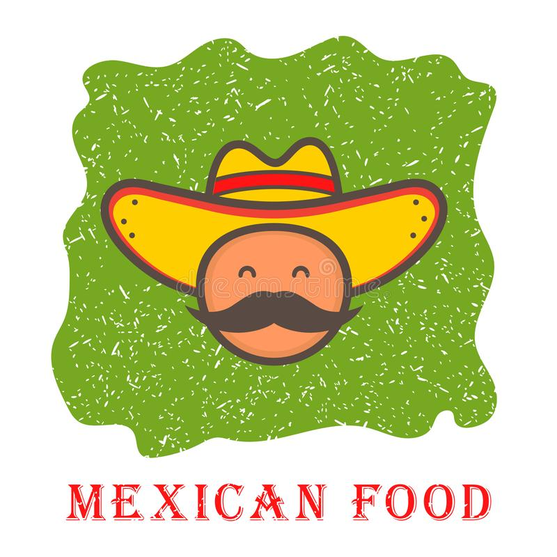 Cute mexico man face in national sombrero hat. logo template design. Mexican food. Vector illustration in flat style stock illustration