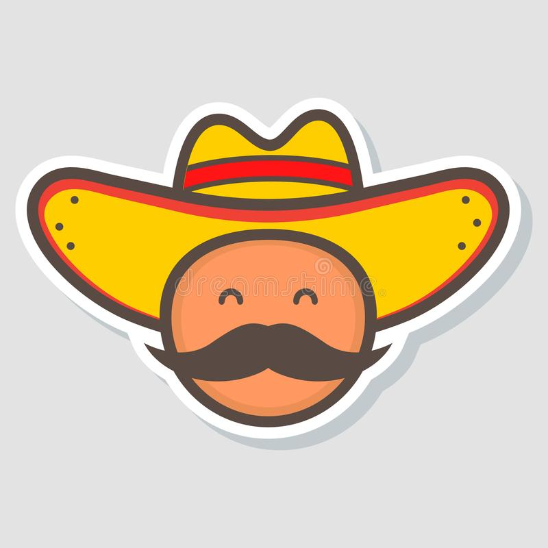 Cute mexico man face in national sombrero hat. logo template design. Mexican food. Vector illustration in flat style. Cartoon character royalty free illustration
