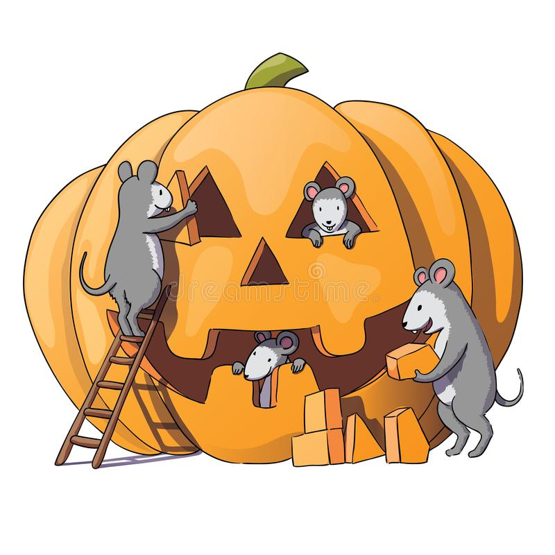Cute mice characters prepare for Halloween. Sly gray mouse, rat. pumpkin.Isolated on white background. Vector illustration royalty free illustration