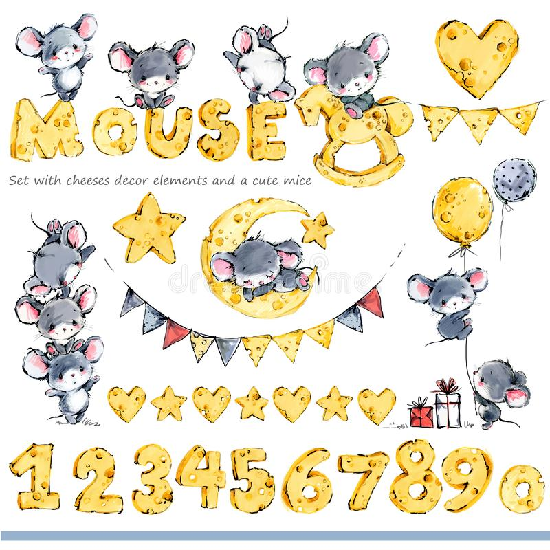 Cute mice greeting background. Funny cartoon mouse. Cute mice and cheese decor set. Funny cartoon mouse vector illustration