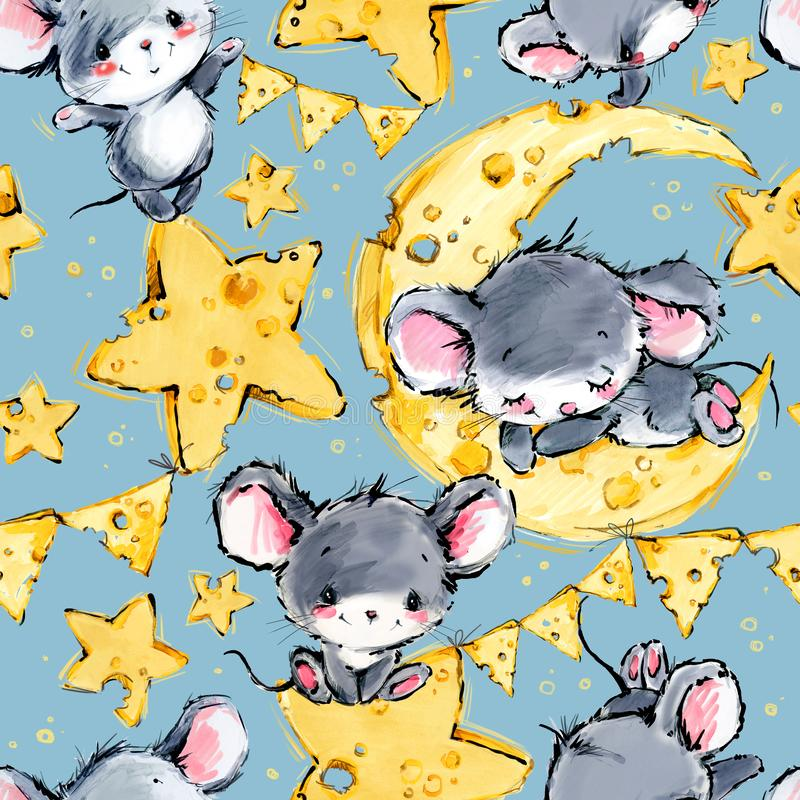 Cute mice greeting background. Funny cartoon mouse. Cute mice seamless background. Funny cartoon mouse. moon and star pattern royalty free illustration
