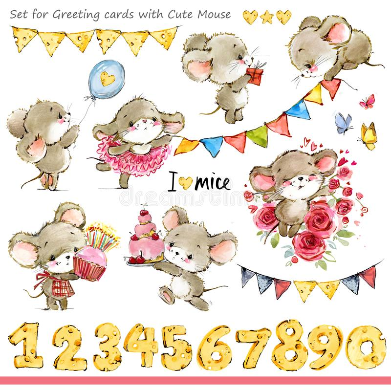 Cute mice illustration. Funny cartoon mouse. For Birthday Cards background royalty free illustration