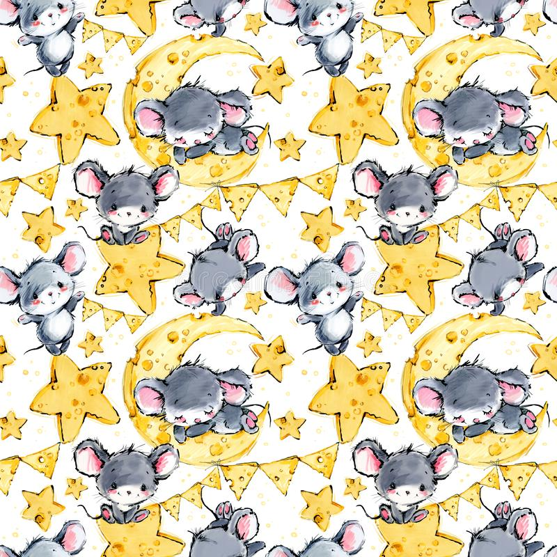 Cute mice seamless background. Funny cartoon mouse. Moon and star pattern vector illustration